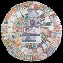 Série 100 billets du Monde différents - plus de 30 Pays - Neuf