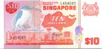 Singapore 10 Dollars  Bird, building - 1980