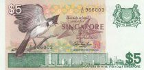 Singapore 5 Dollars  bird, view of city - 1976 Serial A/82