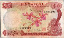 Singapour 10 Dollars Orchidée - Mains