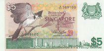 Singapour 5 Dollars Oiseau, vue de la ville - 1976 Série A/69