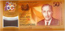 Singapour 50 Dollars E.Y. bin Ishak - 50 ans Parité Brunei - 2017 Polymer
