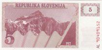 Slovénie 5 Tolarjev 1990 - Montagne