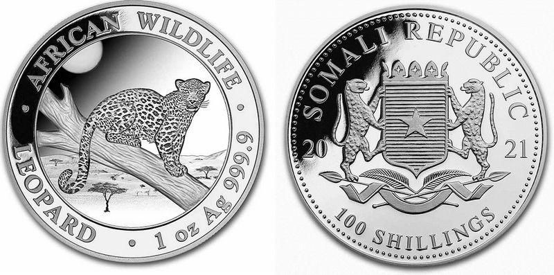 Somalia 100 Shillings Leopard- Silver Oz 2021