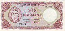 Somalia 20 Shillings Banana, bank building. - 1971