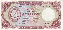 Somalia 20 Shillings Banana, bank building. - 1971