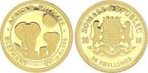 Somalia 20 Shillings Elephants- 1/50 Gold Oz 2014