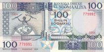 Somalie 100 Shillings 1989 - Femme avec arme et pelle, ouvrières