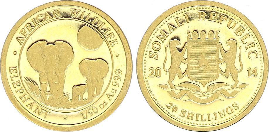 Somalie 20 Shillings éléphants - 1/50 Once Or 2014