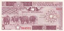 Somalie 5 Shillings 1987 - Zébus, travailleurs agricoles