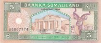 Somaliland 5 Shillings Greater Kudu - Traders and camels - 1994