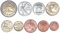 South Africa Set 1 Cent to 5 Rand - 9 coins - 1990 to 2016 - AU