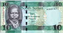 South Sudan 10 Pounds, Dr John Garang de Mabior - Buffalo - 2015