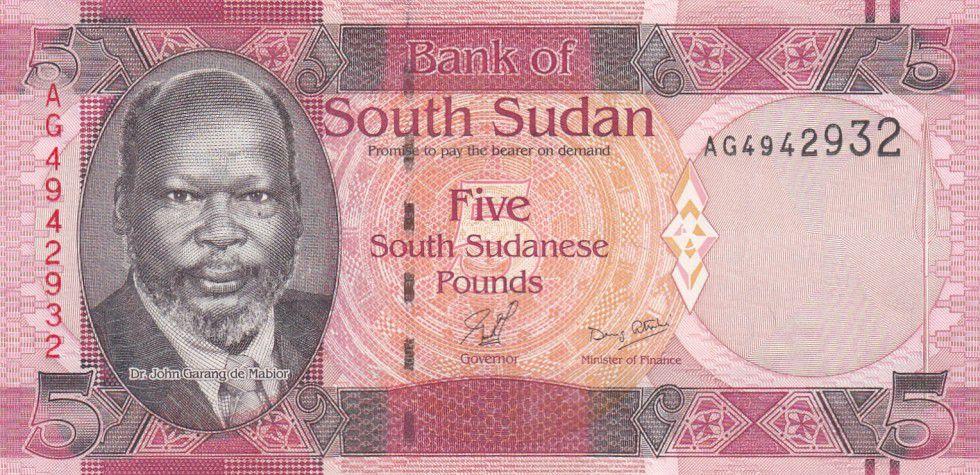South Sudan 5 Pounds Dr John Garang de Mabior - Cows - 2011
