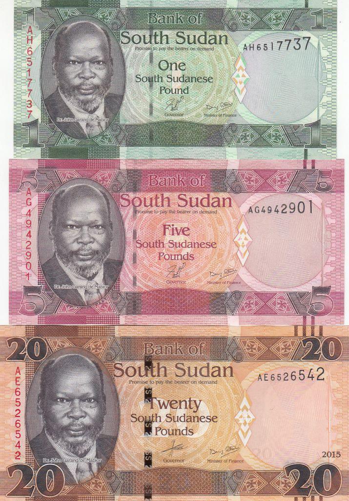 South Sudan Set of 3 banknotes  -  J. Garang de Mabior - 2011-2015