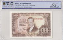 Spagna 100 Pesetas 1953 - J.R. de Torres - PCGS 67 OPQ