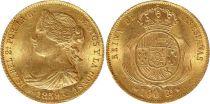 Spagna 100 Reales Isabel II - Arms - 1859 - Barcelona - Gold