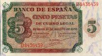 Spain  5 Pesetas - Burgos - 1938