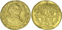 Spain 1/2 Escudo Charles III - Arms 1775 PJ - Gold