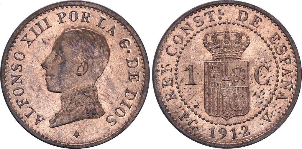 Spain 1 centimo - Alfonso XIII  - 1912 - AU