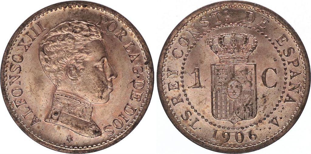 Spain 1 centimo - Alfonso XIII  -1906 - AU