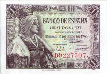 Spain 1 Peseta Queen Isabella la Catolica - 1945