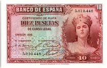 Spain 10 Pesetas 1935 - without serial - aUNC - P.86