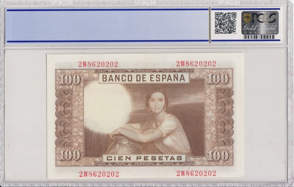 Spain 100 Pesetas 1953 - J.R. de Torres - PCGS 66 OPQ