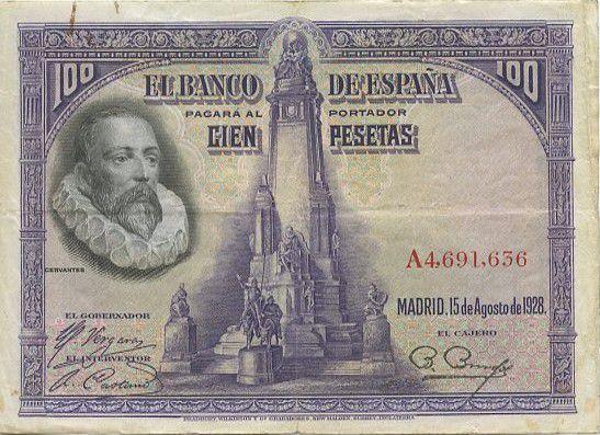 Spain 100 Pesetas M. De Cervantes