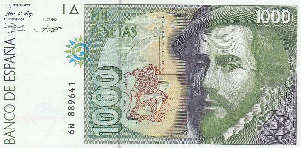 Spain 1000 Pesetas - H. Cortès - F. Pizzaro 1992
