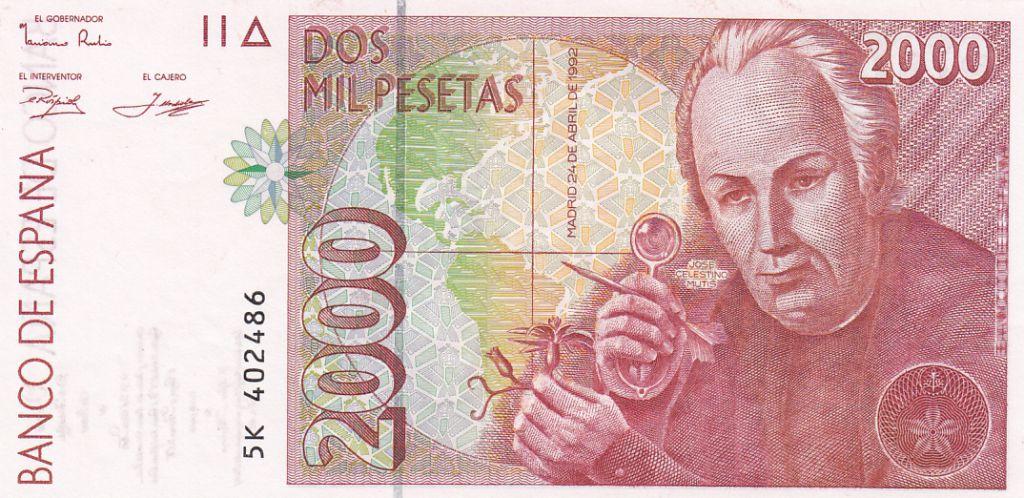 Spain 2000 Pesetas  - José Celestino Mutis - 1992 (1996)