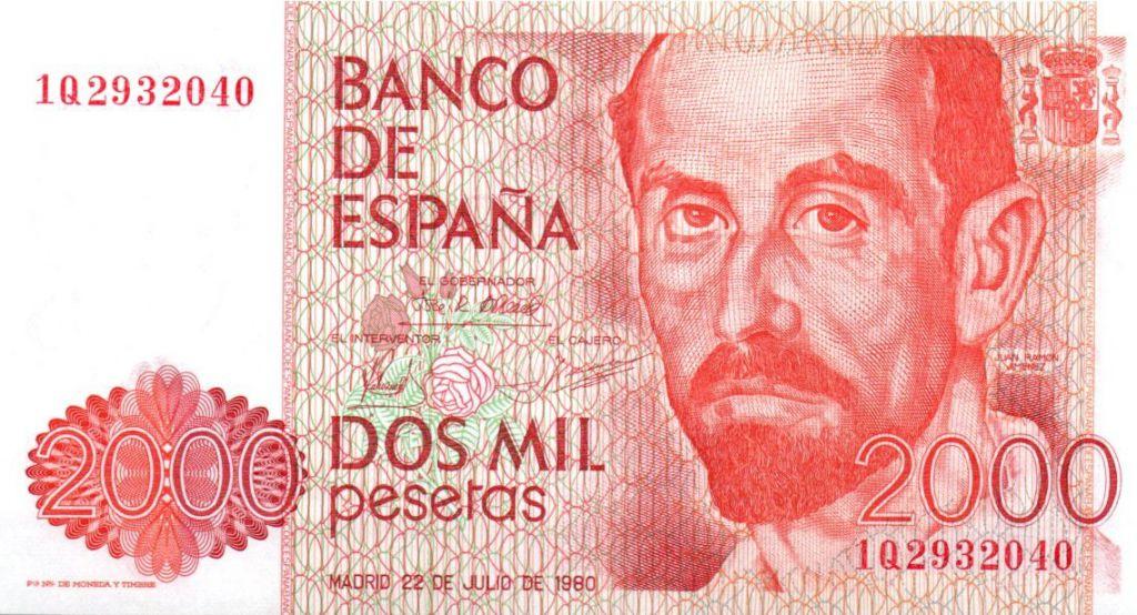 Spain 2000 Pesetas Juan Ramon Jimenez - 1980