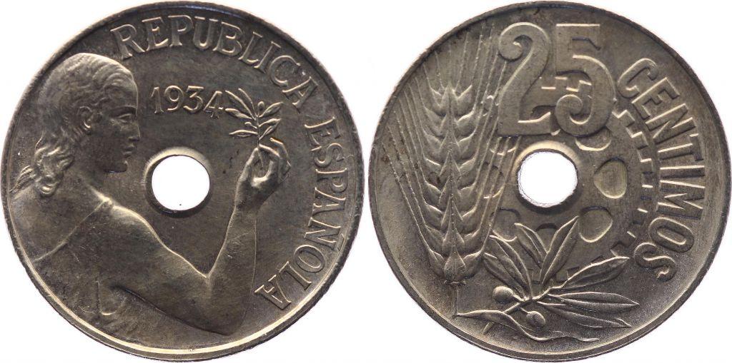 Spain 25 centimos - Republic  -1934