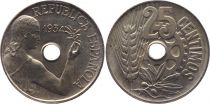 Spain 25 centimos - Republic  -1934