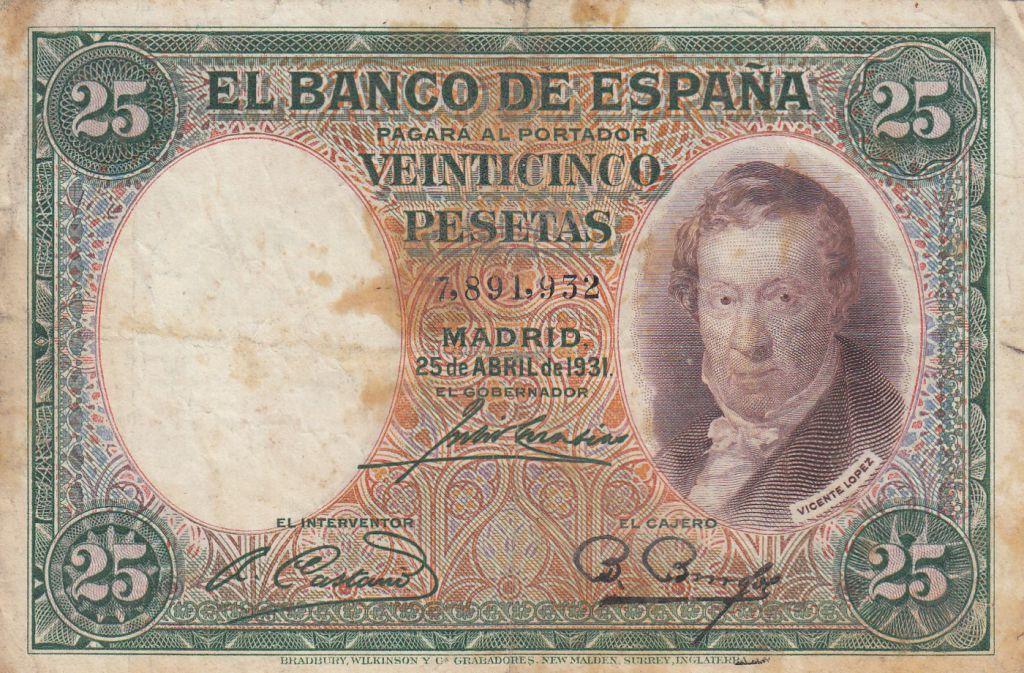 Spain P-81 25 Pesetas 1931 Circulated Banknote