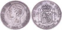 Spain 5 Pesetas,  Alfonso XII - Arms --1878 (78)