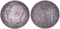 Spain 5 Pesetas,  Alfonso XII - Arms -1885 (87)