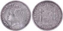 Spain 5 Pesetas,  Alfonso XIII - Arms -1893 (93 ) PG V
