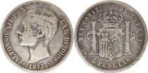 Spain 5 Pesetas Alfonso XII - Arms - 1877 - DE M Silver