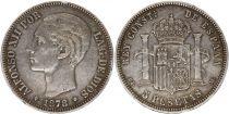 Spain 5 Pesetas Alfonso XII - Arms - 1878 - DE M Silver