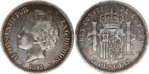 Spain 5 Pesetas Alfonso XII - Arms - 1893 - PG L Silver