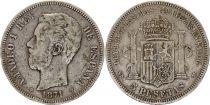 Spain 5 Pesetas Amadeo I - Arms - 1871 (71) - SD-M