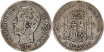Spain 5 Pesetas Amadeo I - Arms - 1871 (71) - SD-M