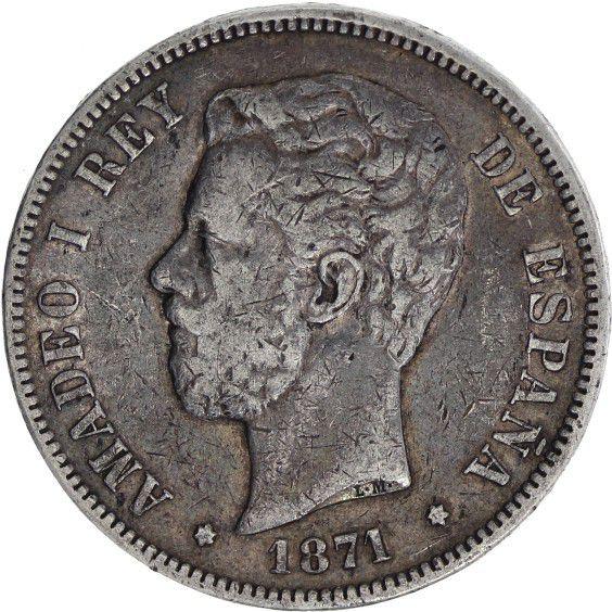 Spain 5 Pesetas Amadeo I - Arms - 1871