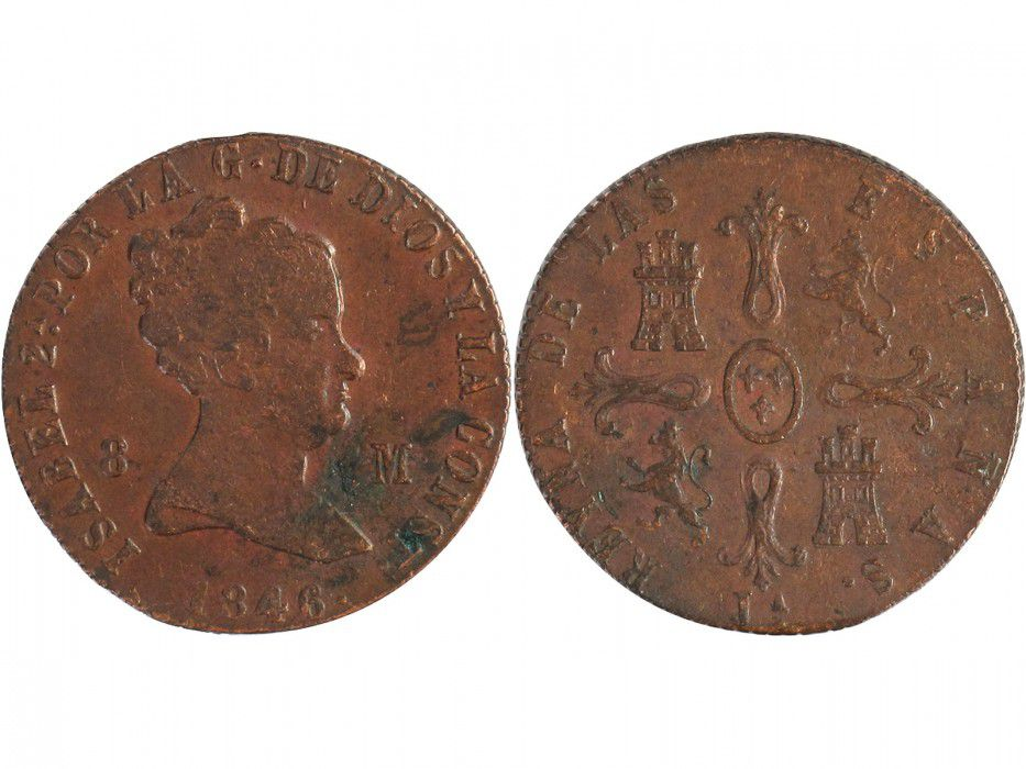Spain 8 Maravedis Isabel II - Arms - 1846