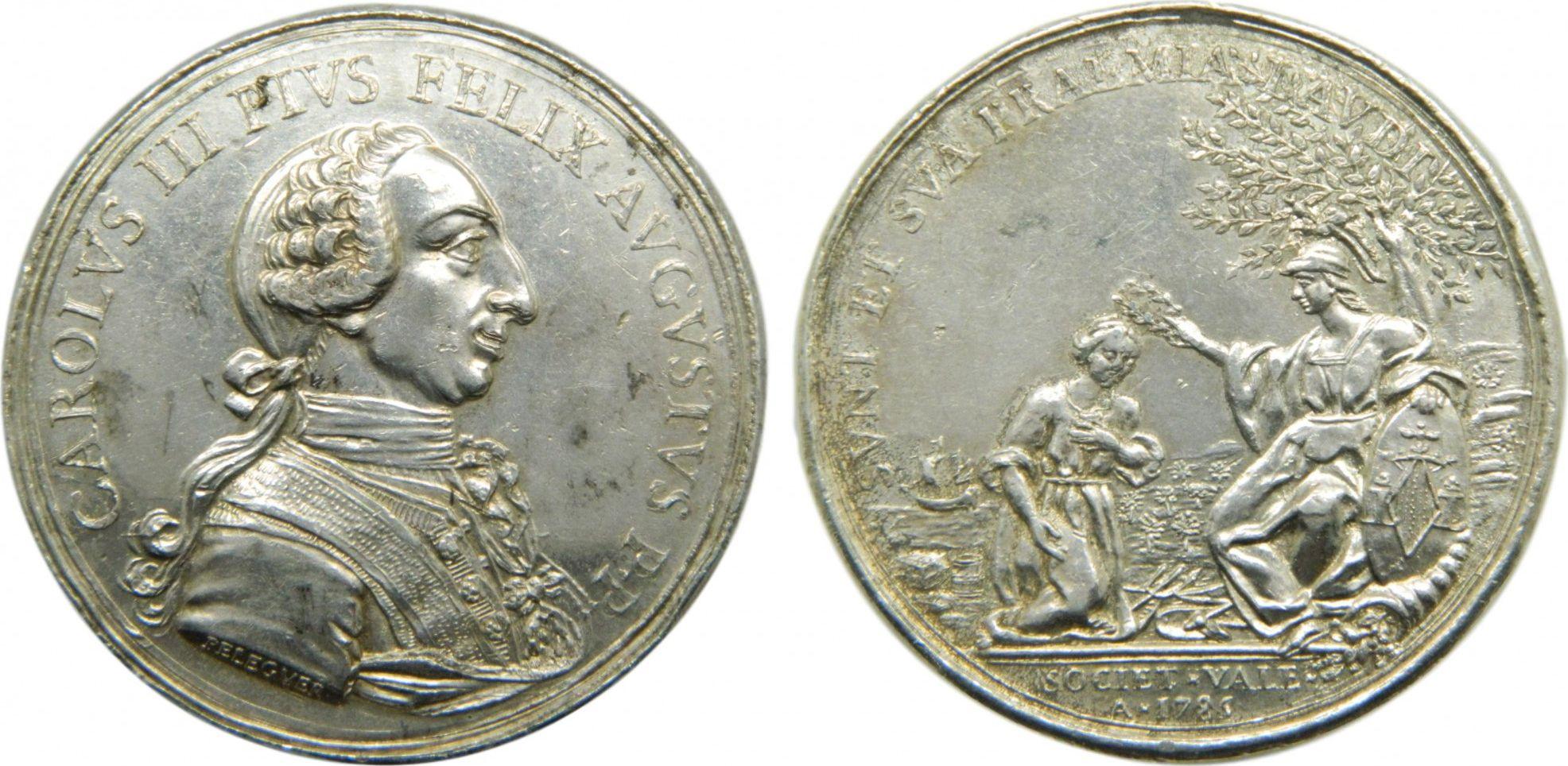 Spain Carlos III - Sociedad Valenciana - 1785 - Silver
