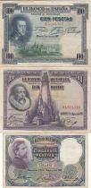 Spain Set of 3 banknotes 50, 100, 100 Pesetas - 1925 to 1931