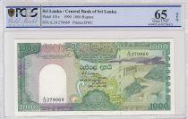 Sri Lanka 1000 Rupees 1990 -  Victoria\'s dam - Peacock - PCGS 65 OPQ