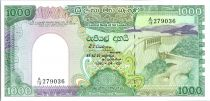 Sri Lanka 1000 Rupees 1990 -  Victoria\'s dam - Peacock