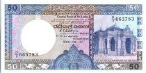 Sri-Lanka 50 Rupees 1989 - Maison du raja de Kelaniya - Ruines